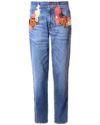 Christopher Kane Floral-Embroidered Jeans blue - Lyst