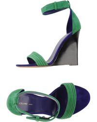 Celine Sandals green - Lyst