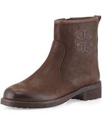 Tory Burch Simone Leather Logo Bootie Chocolate 350b50b - Lyst