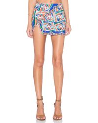 Pia Pauro - Side Flap Embroidered Mini Skirt - Lyst
