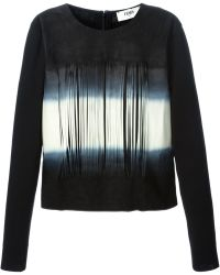 Fendi Laser Cut Fringed Sweater black - Lyst