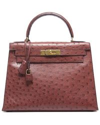 Hermes Preowned Red Ostrich Kelly 28cm Bag - Lyst