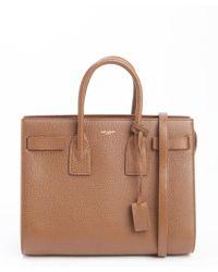 Saint Laurent Havana Brown Leather Sac De Jour Small Convertible Top Handle Tote - Lyst