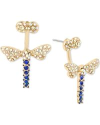 Betsey Johnson | Gold-tone Blue And Clear Pavé Dragonfly Front And Back Earrings | Lyst