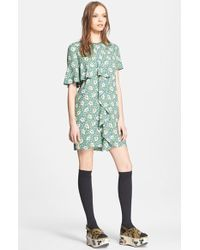 Marni Buttercup Print Woven Dress With Ruffle Detail - Lyst