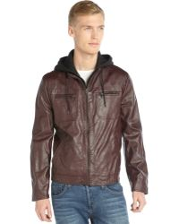 Kenneth Cole Reaction Burgundy Faux Leather Hooded Zip Front Jacket - Lyst