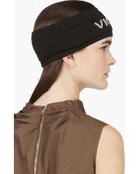 Rick Owens - Black Ruched Knit Logo Headband - Lyst