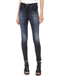 Rag & Bone Justine Zipper High Rise Legging Jeans  - Lyst