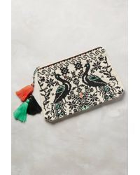 Star Mela Embroidered Peacocks Pouch - Lyst