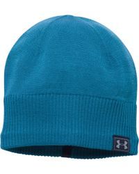 f51fac9cdda Lyst - Under Armour Men s Coldgear® Reactor Knit Beanie in Blue for Men