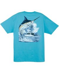cdb59e226f06 Guy Harvey Men's Marlin And Boat Graphic-print Pocket T-shirt in Blue for  Men - Lyst