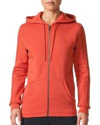 adidas - Essentials Cotton Fleece 3-stripes Full Zip Hoodie - Lyst