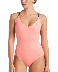 14e3f03d37aee Nike 6:1 Shine Stripe Crossback One Piece Swimsuit in Black - Lyst