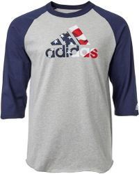 1fdc9e825c2 Lyst - adidas Triple Stripe Printed 3⁄4 Sleeve Practice Shirt in ...
