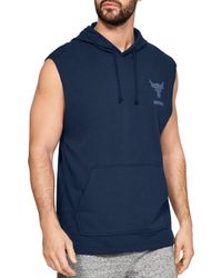 Under Armour - Project Rock French Terry Sleeveless Hoodie - Lyst