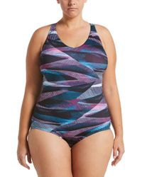 f3446e9edc1 Nike Plus Size Solid Epic Trainer Tank One-piece Swimsuit in Black - Lyst