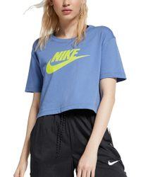 cheap for discount e72f5 b6e25 Nike - Womens Essential Crop T-shirt - Lyst