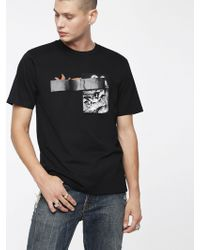 DIESEL - T-shirt With Rubberised Tape - Lyst