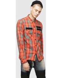 DIESEL - Check Flannel Shirt With Graphic Patches - Lyst
