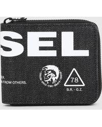DIESEL - Zip Around Wallet In Dark Printed Denim - Lyst