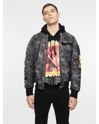 DIESEL - Nylon Bomber Jacket With Treated Effect - Lyst