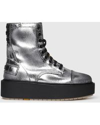 DIESEL - Leather Ankle Boots With Crackled Finish - Lyst