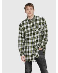 DIESEL - Check Shirt With Ripped Effect - Lyst