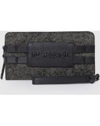 DIESEL - Zip-around Wallet In Denim And Leather - Lyst