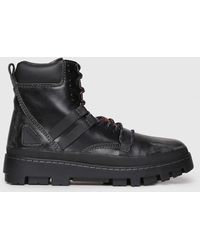 DIESEL - Leather Boots With Ankle Padding - Lyst