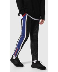 DIESEL - Leather Pants With Sporty Details - Lyst