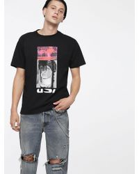DIESEL - T-shirt With Neon-coloured Print - Lyst