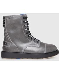 DIESEL - Leather Combat Boots With Worn Effect - Lyst