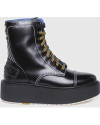 DIESEL - Glossy Leather Ankle Boots - Lyst