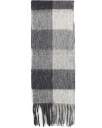 Barbour - Large Tattersall Scarf Charcoal Grey - Lyst