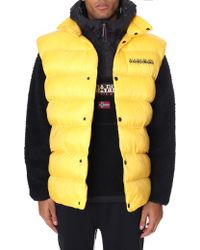 Napapijri - Akke Oversized Gilet With Back Logo In Yellow - Lyst