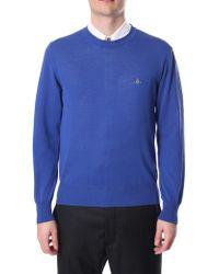 b15fc9481c9 Vivienne Westwood Classic Cotton V-neck Jumper Navy in Blue for Men ...