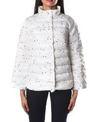 Armani Jeans - Repeat Logo Women's Puffa Jacket Fantasy White Milk - Lyst