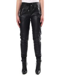 Replay - Women's Faux Leather Joggers Black - Lyst