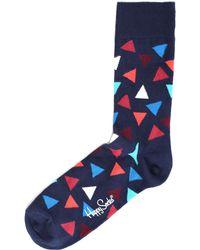 Happy Socks - Men's Triangle Pattern Socks Navy - Lyst