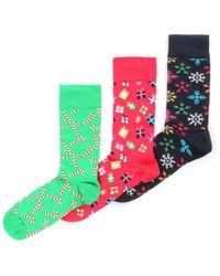 Happy Socks - 3 Pack Men's Holiday Socks Box Set Assorted - Lyst
