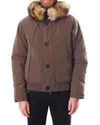 Armani Jeans - Faux Fur Trim Men's Bomber Jacket Brown - Lyst