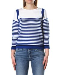Armani Jeans - Women's Striped Crew Neck Pullover Knit Optical White - Lyst