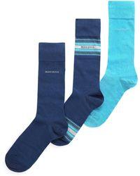 BOSS Black - Men's 3 Pack Cotton Socks Dark Blue - Lyst