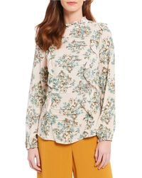 Skies Are Blue - Victorian Floral Print Ruffle Mock Neck Blouse - Lyst