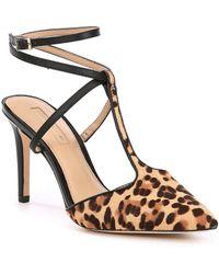 Antonio Melani - Molone Leopard Print Hair Calf Ankle Strap Dress Pumps - Lyst