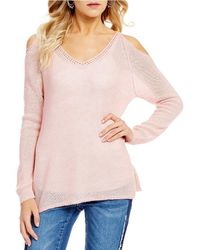Banjara - Cold Shoulder Long Sleeve Sweater - Lyst