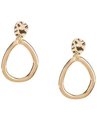 Anne Klein - Hammered Drop Hoop Clip-on Earrings - Lyst