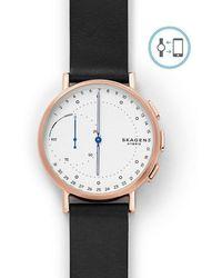 Skagen - Signatur Connected Leather-strap Hybrid Smart Watch - Lyst