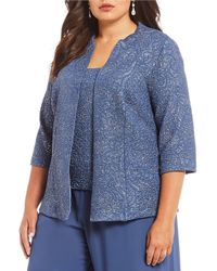 Alex Evenings - Plus Size Jacquard Knit 3/4 Sleeve Twinset Tank And Jacket - Lyst