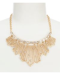 Belle By Badgley Mischka Stones Bar Collar Frontal Necklace - Metallic